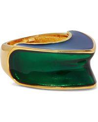 Kenneth Jay Lane - Gold-tone Color-block Enamel Ring Royal Blue - Lyst