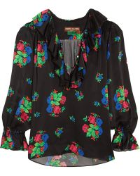 Duro Olowu - Ruffled Floral-print Silk-satin Blouse - Lyst