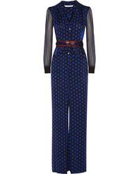 Diane von Furstenberg - Cathy Printed Stretch-silk Jumpsuit - Lyst