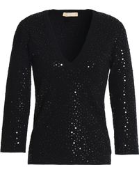 Michael Kors - Sequined Stretch-knit Top - Lyst