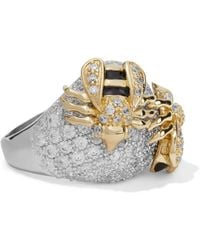 CZ by Kenneth Jay Lane - Silver-tone, Gold-tone, Crystal And Enamel Ring - Lyst