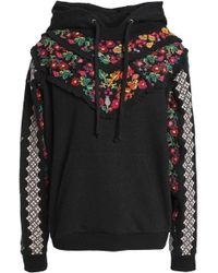Needle & Thread - Woman Embroidered Ruffle-trimmed Cotton-blend Terry Sweatshirt Black Size S - Lyst