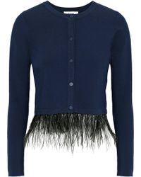 MILLY - Feather-trimmed Stretch-knit Cardigan - Lyst