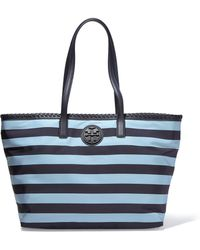 Tory Burch - Marion Leather-trimmed Striped Shell Tote - Lyst