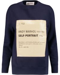 Self-Portrait - Printed Cotton-blend Jersey Sweatshirt - Lyst