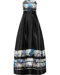 Noir Sachin & Babi | - Prism Pleated Printed Satin Gown - Black | Lyst