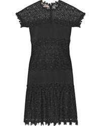 Giambattista Valli - Ruffled Guipure Lace-paneled Crepe Mini Dress - Lyst