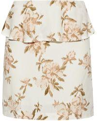 Ganni - Layered Floral-print Crepe Mini Skirt - Lyst