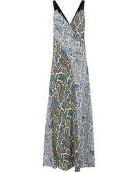 Diane von Furstenberg - Woman Paneled Printed Silk Maxi Dress Pastel Yellow - Lyst