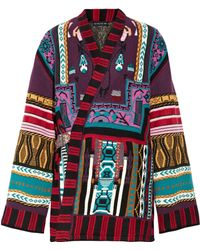 Etro - Reversible Intarsia Wool-blend And Jacquard Wrap Jacket - Lyst