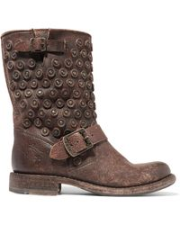 Frye - Jenna Distressed Leather Boots - Lyst