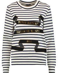Petit Bateau - Printed Striped Cotton-jersey Sweatshirt - Lyst
