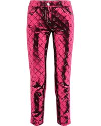Moschino | Printed Crepe Slim-leg Trousers | Lyst
