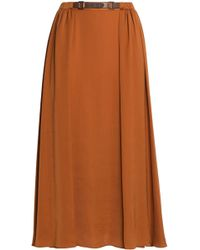 Halston - Belted Satin Midi Skirt Light Brown - Lyst