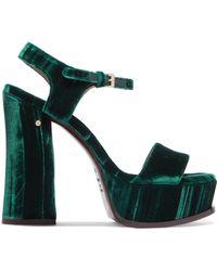 Laurence Dacade - Perla Crushed-velvet Platform Sandals - Lyst