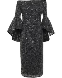 MILLY Off-the-shoulder Embroidered Sequined Tulle Midi Dress Black