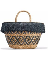 Kayu - Lillian Fringed Embroidered Woven Straw Tote - Lyst