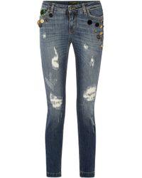 Dolce & Gabbana - Appliquéd Distressed Mid-rise Skinny Jeans - Lyst