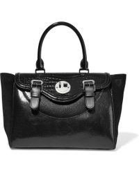 Hill & Friends - Happy Paneled Textured-leather And Suede Tote - Lyst