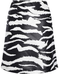 Versus - Coated Zebra-print Satin-twill Mini Skirt - Lyst