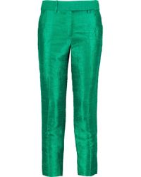 Halston - Textured-crepe Straight-leg Trousers - Lyst