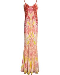 Roberto Cavalli - Leather-trimmed Embroidered Printed Silk-georgette Gown - Lyst