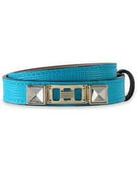 Proenza Schouler - Woman Lizard-effect Leather, Silver And Gold-tone Bracelet Turquoise - Lyst