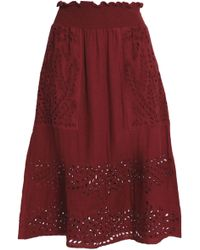 Antik Batik - Shirred Broderie Anglaise Cotton Skirt - Lyst