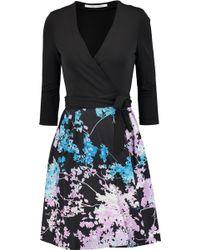 Diane von Furstenberg - Valerie Wool-blend And Printed Crepe Wrap Dress - Lyst