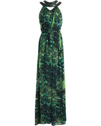 Matthew Williamson - Belted Embellished Printed Silk-chiffon Gown - Lyst