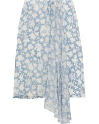 Topshop Unique - Balfour Printed Silk-georgette And Crepe De Chine Skirt - Lyst