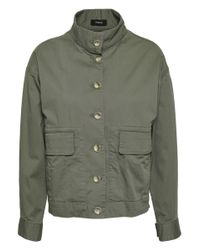 Theory - Woman Stretch-cotton Twill Jacket Army Green - Lyst