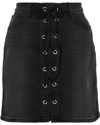 L'Agence Portia Lace-up Denim Mini Skirt Black