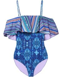 Matthew Williamson - Woman Cold-shoulder Ruffled Printed Swimsuit Blue - Lyst