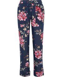 Joie - Woman Daltona Floral-print Silk Wide-leg Trousers Navy - Lyst