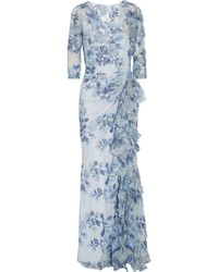 Badgley Mischka | Ruffled Embroidered Lace Gown | Lyst