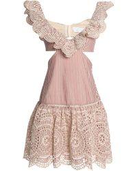 Zimmermann - Cutout Striped Broderie Anglaise Cotton Mini Dress - Lyst