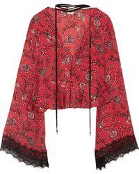 Cinq À Sept - Jemma Lace-trimmed Printed Silk Peplum Top - Lyst