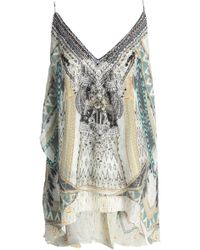 Camilla - Layered Embellished Printed Silk Crepe De Chine Camisole - Lyst