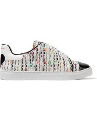 Isa Tapia - Caelen Leather And Textured Woven Trainers - Lyst