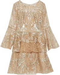 Marchesa notte - Ruffled Embellished Tulle Mini Dress - Lyst