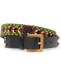 Valentino - Beaded Textured-leather Belt - Lyst