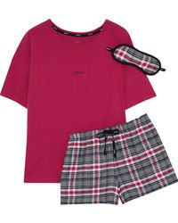 DKNY - Checked Cotton-blend Pyjama Set - Lyst