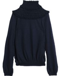 Chloé - Ruffle-trimmed Shirred Open-knit Sweater - Lyst