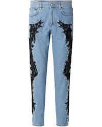 Moschino - Woman Lace-appliquéd And Crystal-embellished Boyfriend Jeans Light Denim - Lyst