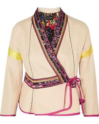 Etro - Woman Satin-trimmed Embroidered Linen-blend Wrap Jacket Ecru - Lyst