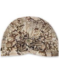 Roberto Cavalli - Ruched Snake-print Jersey Turban Animal Print - Lyst
