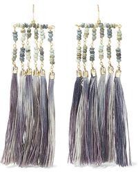Rosantica - Havana Tasseled Gold-tone And Bead Earrings Dark Gray - Lyst