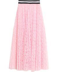 MSGM - Pleated Lace Midi Skirt - Lyst