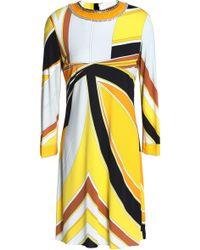 Emilio Pucci - Embellished Printed Stretch-jersey Mini Dress - Lyst